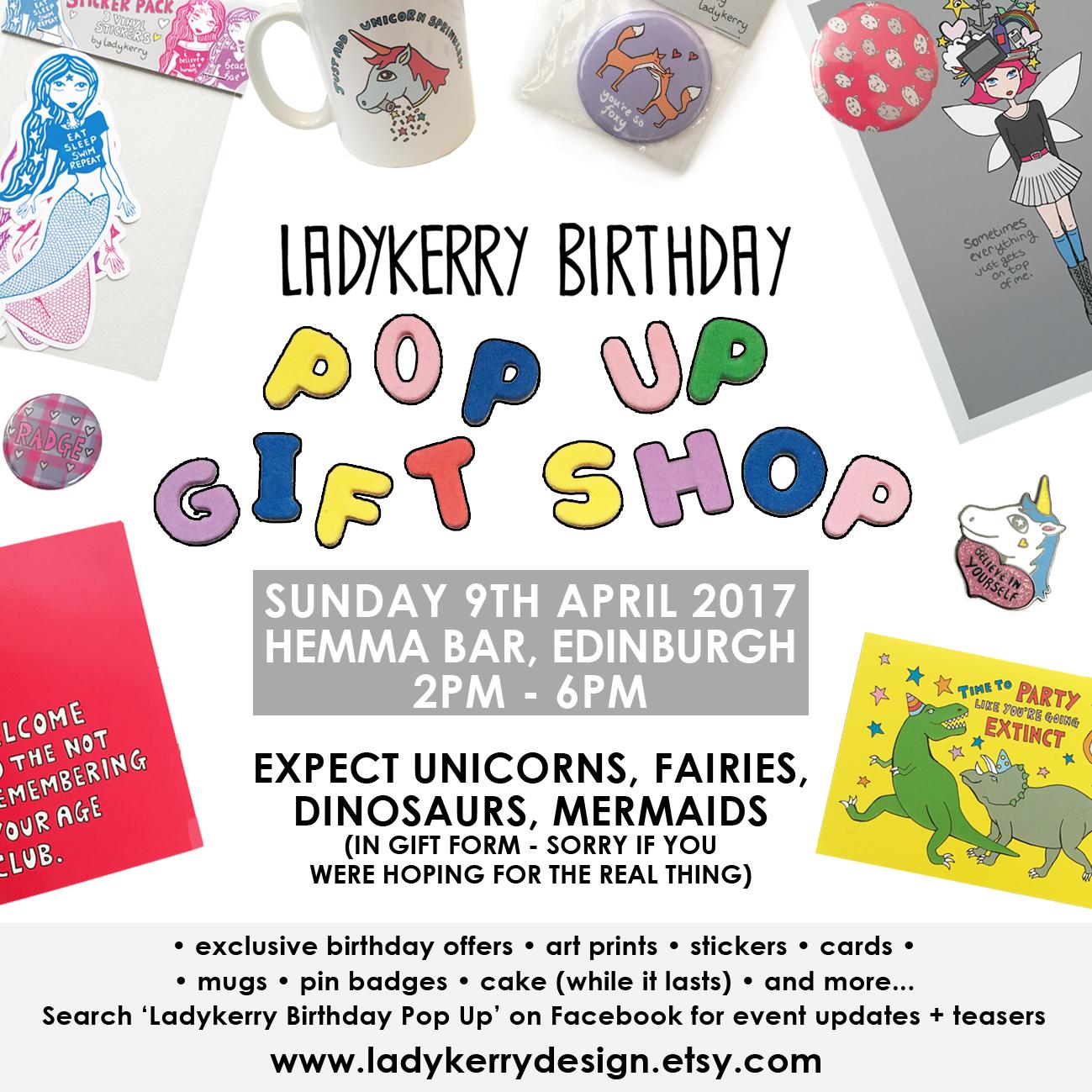 Ladykerry Birthday Pop Up Gift Shop, Pop Up Edinburgh