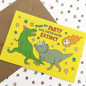 dinosaur celebration card, dinosaur party, dinosaur birthday card, cool dinosaur card