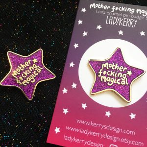 Sassy glitter enamel pin by ladykerry illustrated gifts