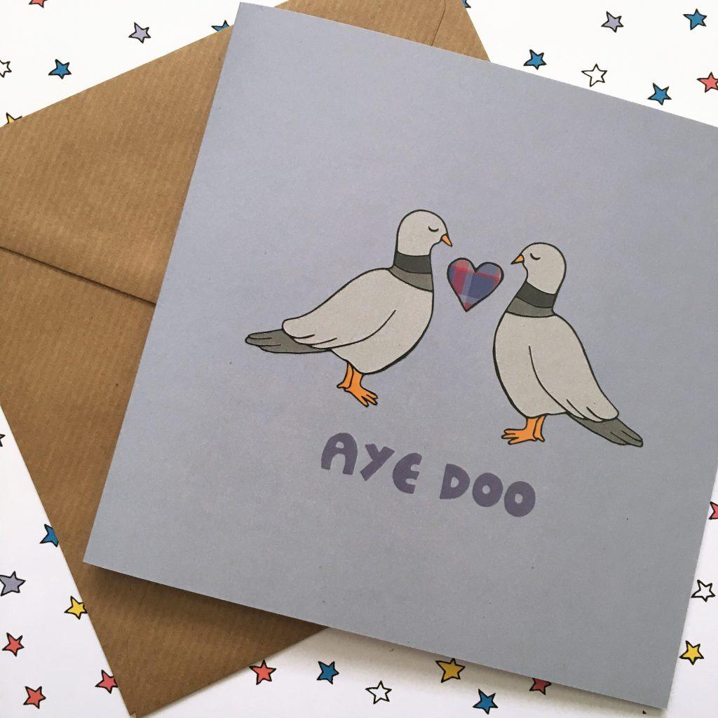 Scottish wedding card - pigeon pun