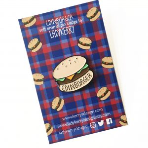 Edinburger Edinburgh burger enamel pin by Ladykerry Illustrated gifts