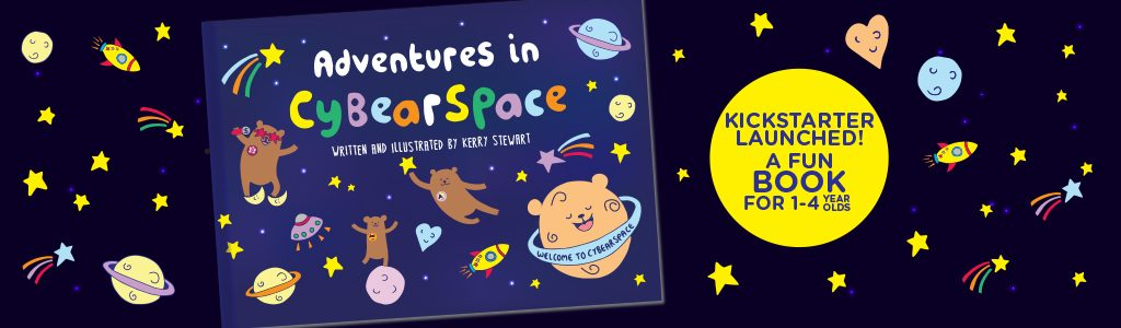 Children's book kickstarter launched - image shows bears in space on a book front cover