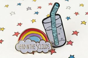 head in the clouds enamel pin and gin pin