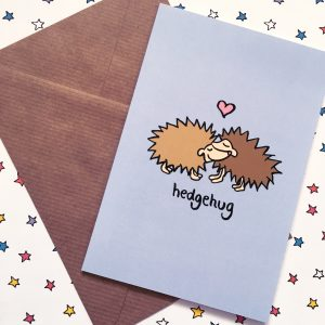 cute and punny hedgehog card