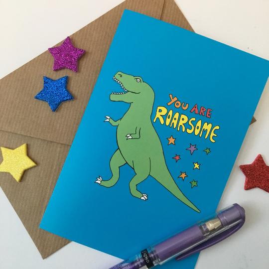Roarsome dinosaur celebration card by Kerry Stewart