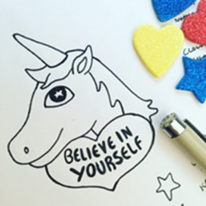 Original sketch for unicorn enamel pin