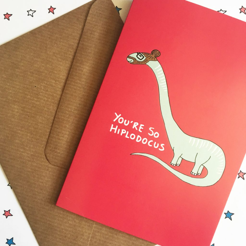 Cool dinosaur hipster card by Ladykerry